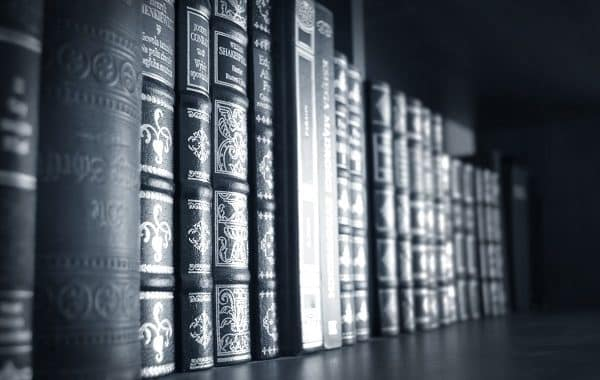 Books Conceptual Image. Books On Shelf. Black&white Image.