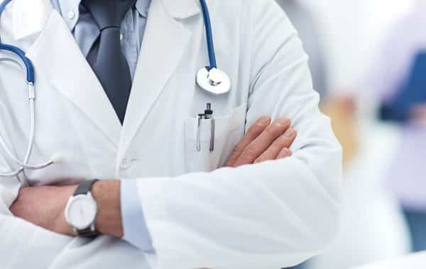 Doctor Posing With Arms Crossed, Lab Coat, Stethoscope And Hands Close Up, Healthcare Professionals Concept