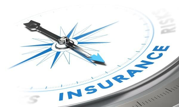 Insurance Background Concept. Compass Needle Pointing A Blue Word, Decorative Image Suitable For Left Bottom Angle Of A Page.